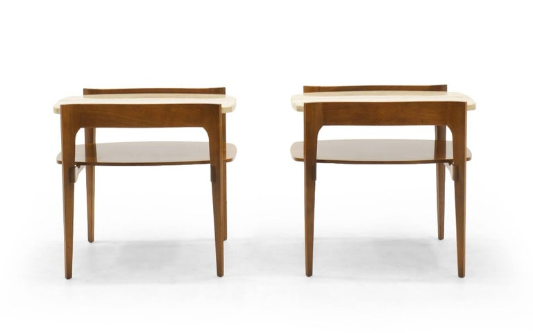 Bertha Schaefer end or side tables. Walnut with travertine tops.