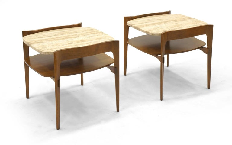 Mid-Century Modern Bertha Schaefer End or Side Tables Walnut with Travertine Tops For Sale