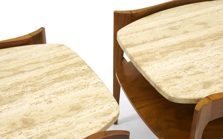 Italian Bertha Schaefer End or Side Tables Walnut with Travertine Tops For Sale