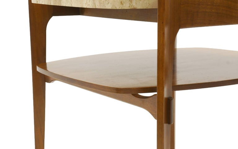 Mid-20th Century Bertha Schaefer End or Side Tables Walnut with Travertine Tops For Sale
