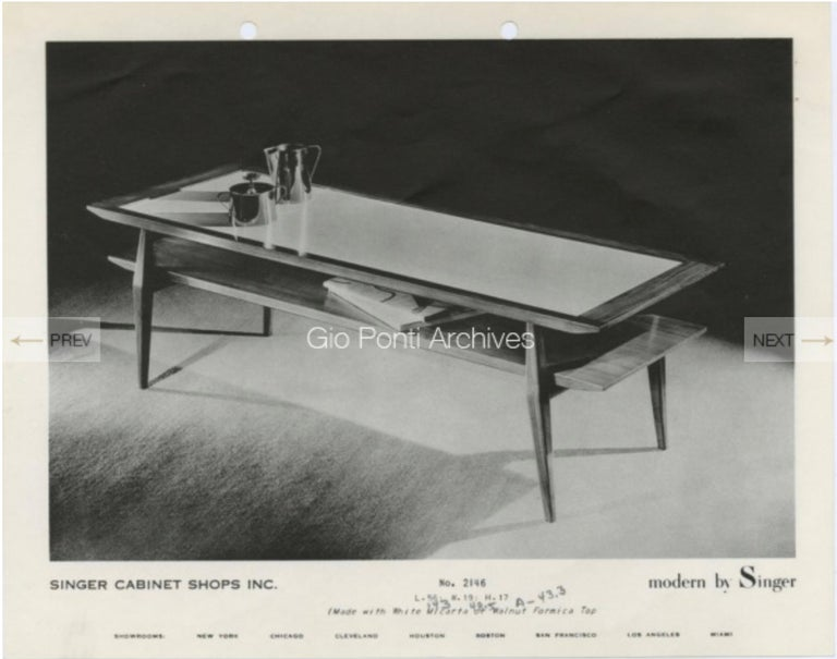 Italian Gio Ponti for M. Singer & Son's Bi-Level Cocktail Table For Sale