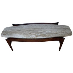 Bertha Schaefer for M. Singer & Sons Walnut and Travertine Coffee Table