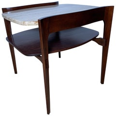 Bertha Schaefer for M. Singer & Sons Walnut and Travertine End Table