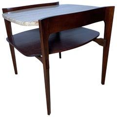 Bertha Schaefer for M. Singer & Sons Walnut and Travertine End Table