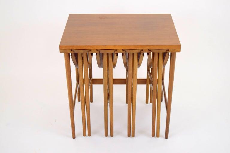 Mid-Century Modern Bertha Schaefer for Singer & Sons Walnut Nesting Table Set For Sale