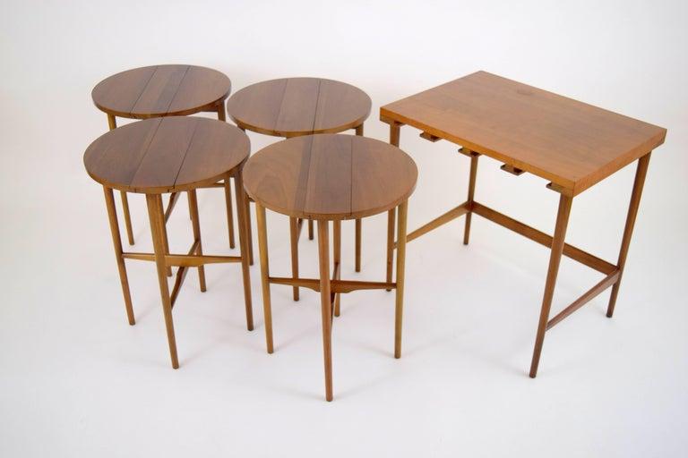 Bertha Schaefer for Singer & Sons Walnut Nesting Table Set For Sale 3