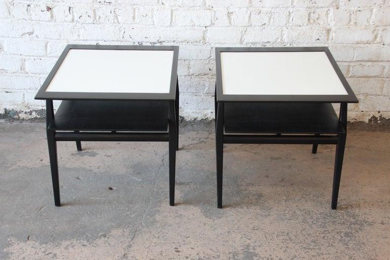 American Bertha Schaefer for Singer & Sons Ebonized Mid-Century Modern End Tables, Pair For Sale