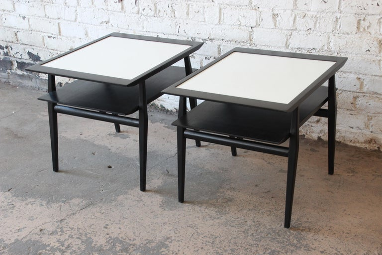Bertha Schaefer for Singer & Sons Ebonized Mid-Century Modern End Tables, Pair In Good Condition For Sale In South Bend, IN