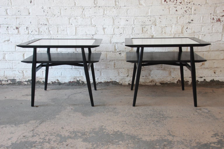 Formica Bertha Schaefer for Singer & Sons Ebonized Mid-Century Modern End Tables, Pair For Sale