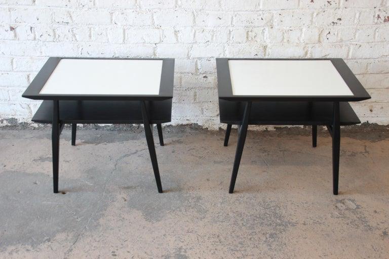 Bertha Schaefer for Singer & Sons Ebonized Mid-Century Modern End Tables, Pair For Sale 1