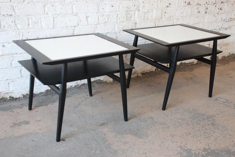 Bertha Schaefer for Singer & Sons Ebonized Mid-Century Modern End Tables, Pair For Sale 2