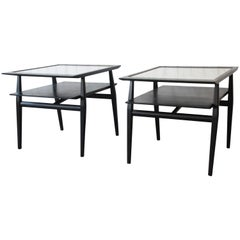 Bertha Schaefer for Singer & Sons Ebonized Mid-Century Modern End Tables, Pair