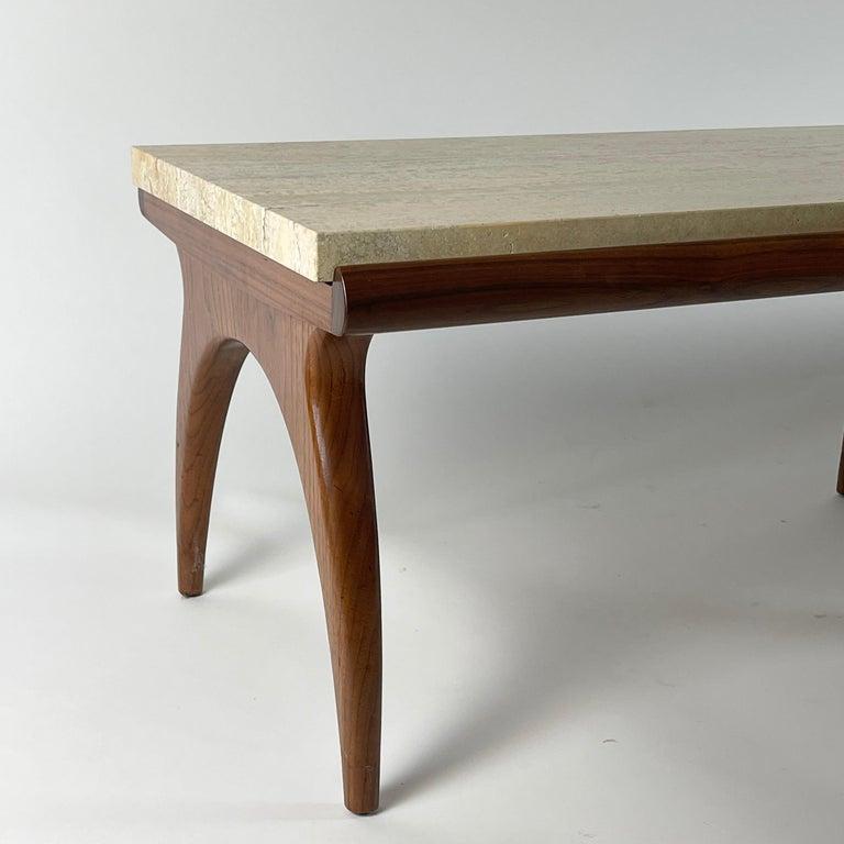 Mid-Century Modern Bertha Schaefer for Singer & Sons Rare Sculptural Travertine & Walnut Table For Sale