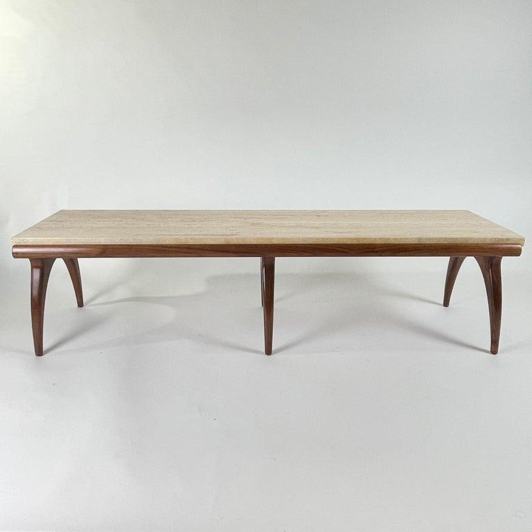 American Bertha Schaefer for Singer & Sons Rare Sculptural Travertine & Walnut Table For Sale