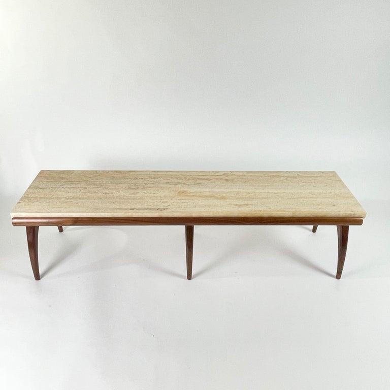 Carved Bertha Schaefer for Singer & Sons Rare Sculptural Travertine & Walnut Table For Sale