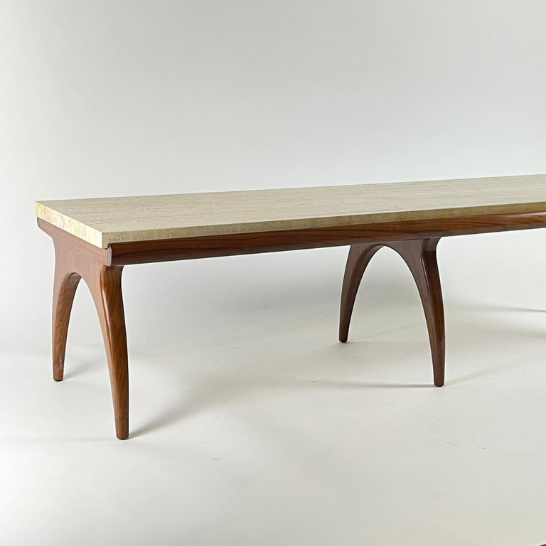 Bertha Schaefer for Singer & Sons Rare Sculptural Travertine & Walnut Table In Good Condition For Sale In Hudson, NY