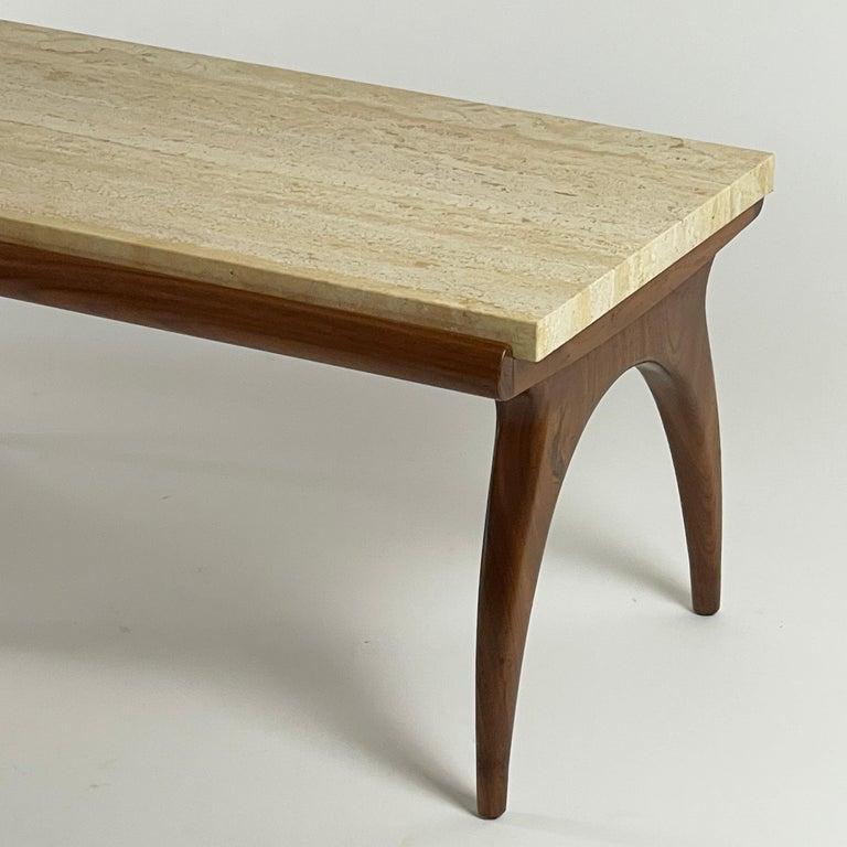 20th Century Bertha Schaefer for Singer & Sons Rare Sculptural Travertine & Walnut Table For Sale
