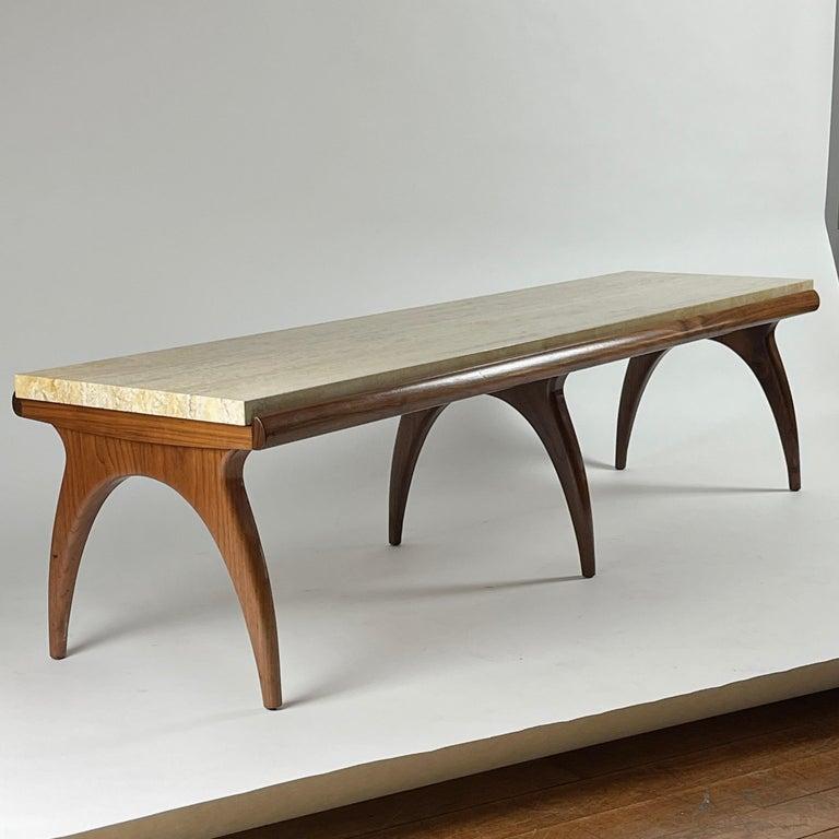 Stone Bertha Schaefer for Singer & Sons Rare Sculptural Travertine & Walnut Table For Sale
