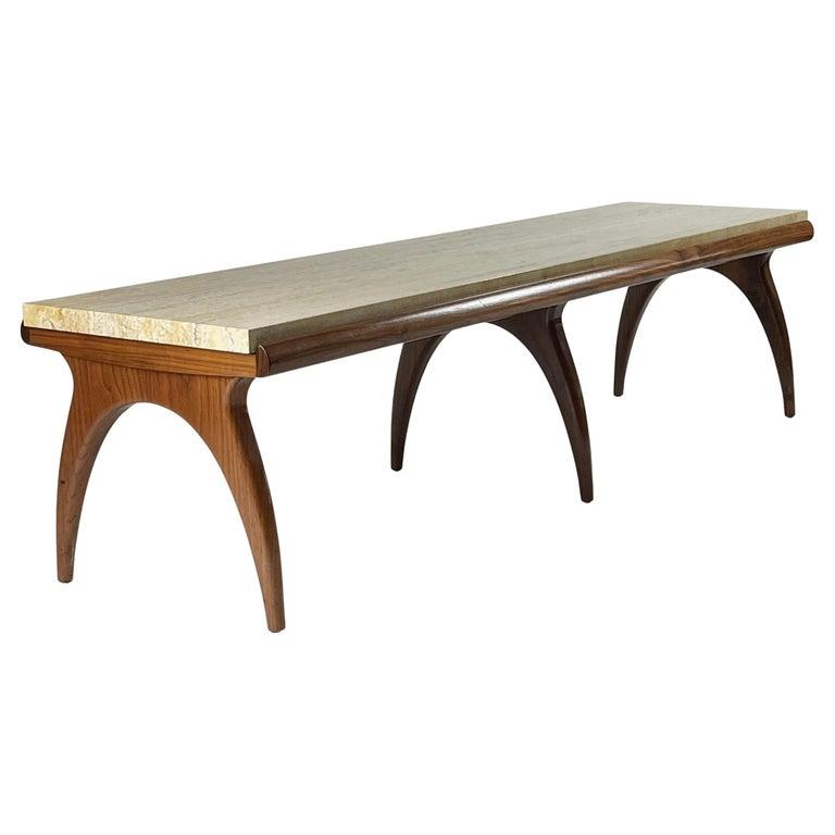 Bertha Schaefer for Singer & Sons Rare Sculptural Travertine & Walnut Table For Sale