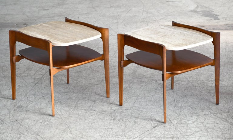 Fabulous boat tail shaped side or end tables designed by Bertha Schaefer for M. Singer and produced in the 1950s. Very sculptural walnut frames with