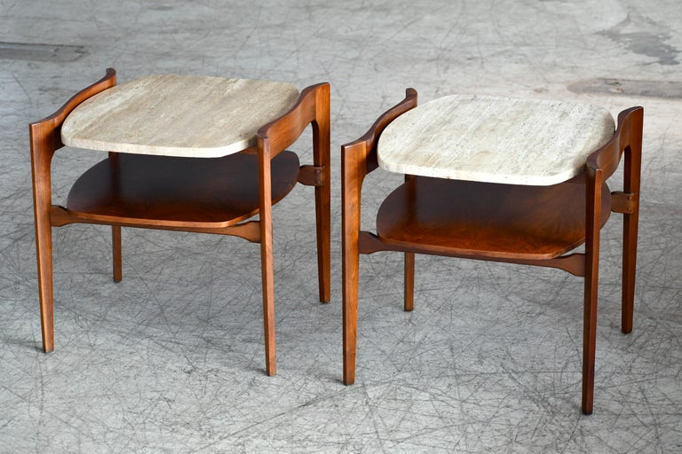 Mid-Century Modern Bertha Schaefer Midcentury End or Side Tables in Walnut with Travertine Tops For Sale