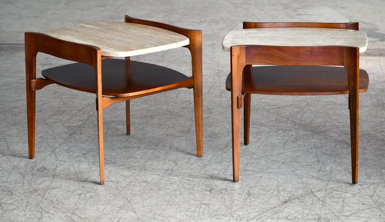 American Bertha Schaefer Midcentury End or Side Tables in Walnut with Travertine Tops For Sale