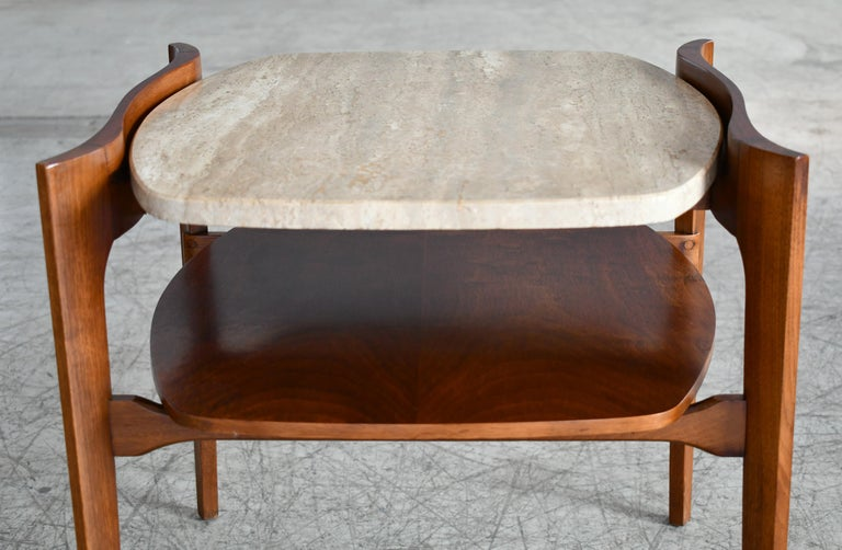 Mid-20th Century Bertha Schaefer Midcentury End or Side Tables in Walnut with Travertine Tops For Sale