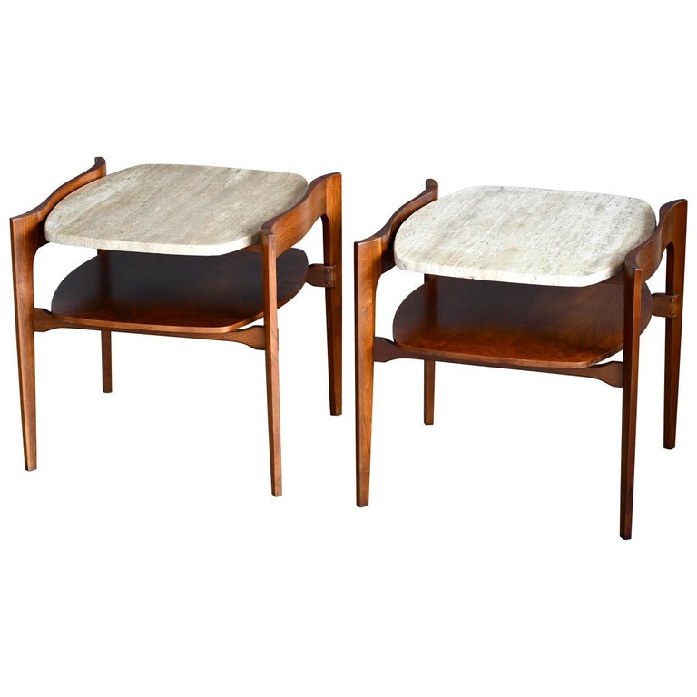 Bertha Schaefer Midcentury End or Side Tables in Walnut with Travertine Tops For Sale