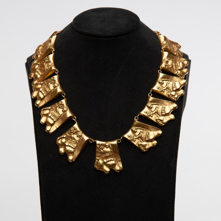 Berthe Aux Grandes Pieds, Gilded Bronze Necklace, Line Vautrin 'France' In Good Condition For Sale In Brussels, BE