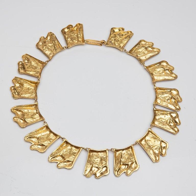 Mid-20th Century Berthe Aux Grandes Pieds, Gilded Bronze Necklace, Line Vautrin 'France' For Sale