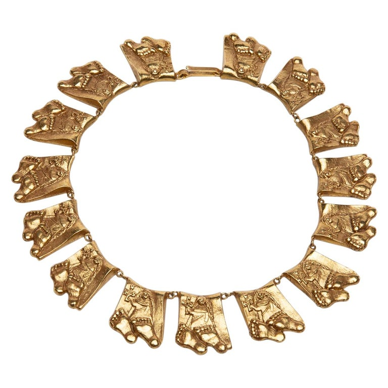 Berthe Aux Grandes Pieds, Gilded Bronze Necklace, Line Vautrin 'France' For Sale