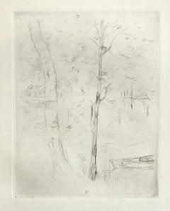 Jardin de Mezy - Etching - Berthe Marie Pauline Morisot (French 1841 - 1895)