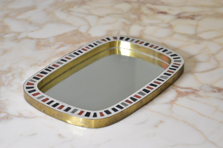 Berthold Müller 1950s Brass Mosaic Mirror Oerlinghausen, Germany In Fair Condition In Krefeld, DE