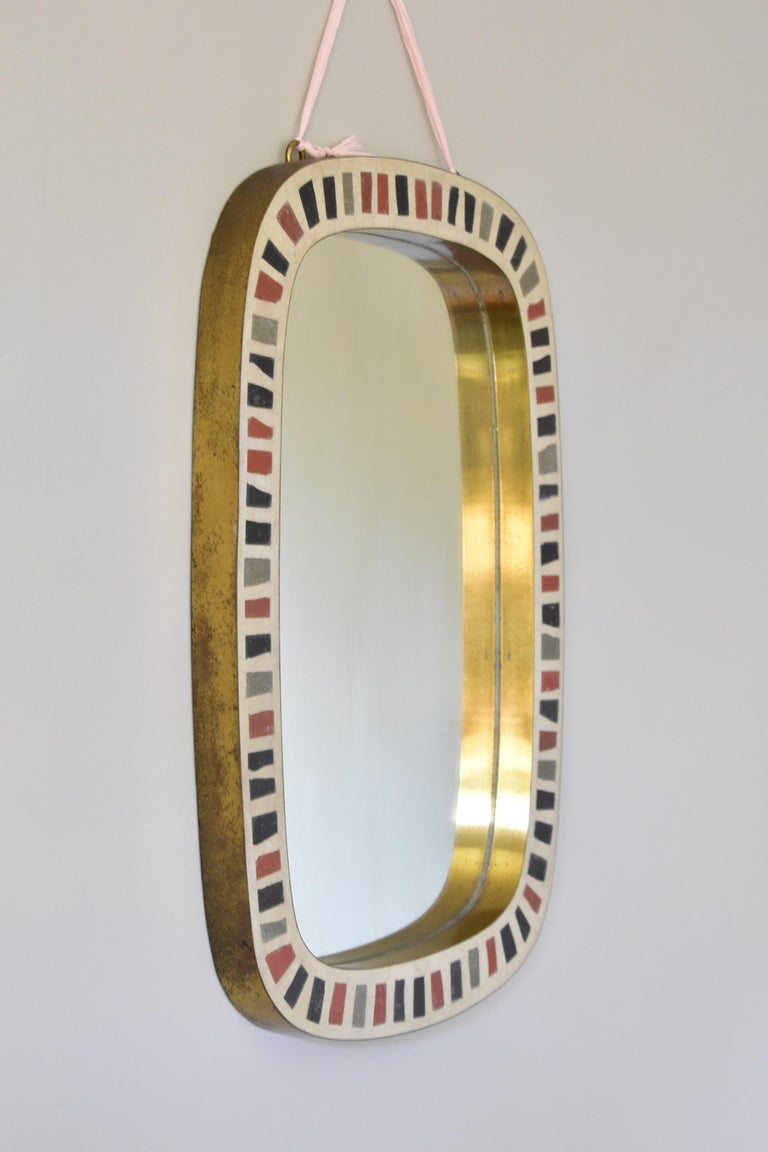 Berthold Müller 1950s Brass Mosaic Mirror Oerlinghausen, Germany 1