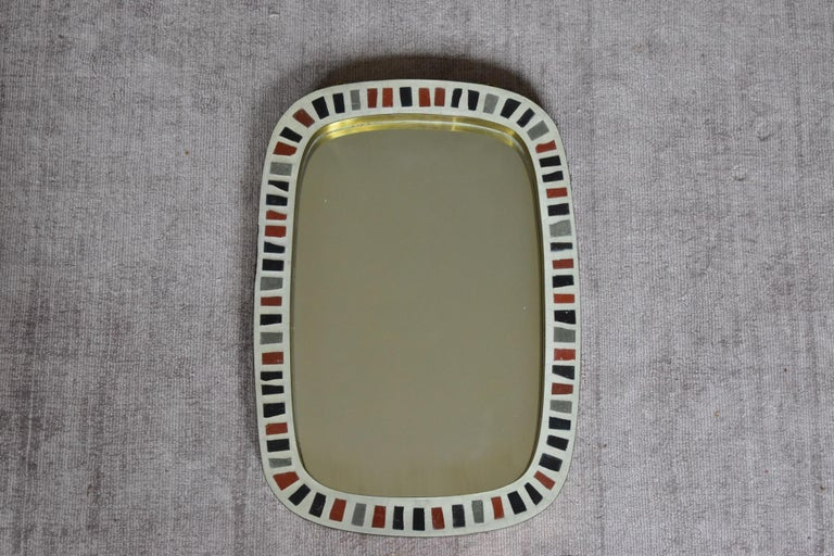 Berthold Müller 1950s Brass Mosaic Mirror Oerlinghausen, Germany 4