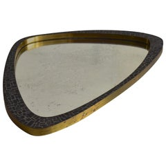 Berthold Müller 1950s Brass Mosaic Mirror Oerlinghausen, Germany