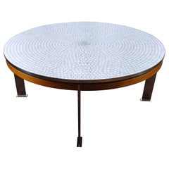 Berthold Müller Oerlinghausen Midcentury Mosaic Large Round Coffee Table, 1960s