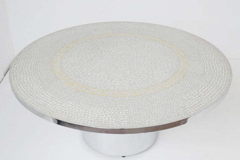 Berthold Müller oerlinghausen mosaic gold-plated coffee table, Germany, 1960s.