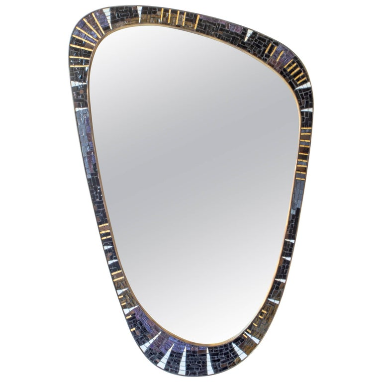 Berthold Müller-Oerlinghausen, Unique German Modernist Mosaic and Brass Mirror For Sale