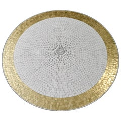 Berthold Müller Round Mosaic Gold and White Tile Coffee Table, 1960s