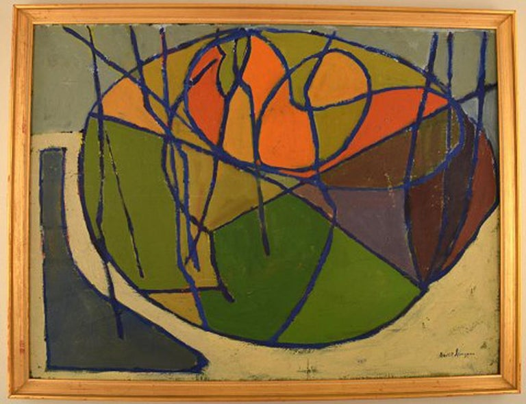 Bertil Almgren. Swedish artist. Oil on board. Still Life. Painted in modernist style. In perfect condition. The board measures: 61 cm x 46 cm. The frame measures: 2.5 cm. Signed. 1960s.