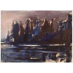 Bertil Carlsson, Sweden, Modernist Landscape, Oil on Board, Dated 1964