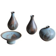 Bertil Lundgren, Vases and Bowl, Blue / Brown Glazed Stoneware Rörstand, 1950s