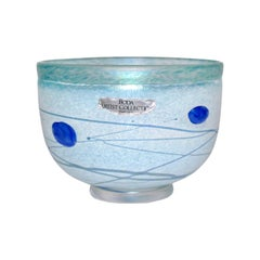 Bertil Vallien for Kosta Boda Mid-Century Blue Galaxy Glass Bowl, Sweden, 1990s