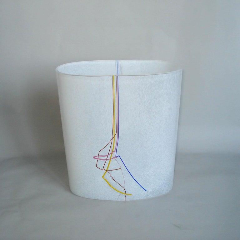 Scandinavian Modern Bertil Vallien Kosta Boda Swedish Art Glass Vase Rainbow For Sale