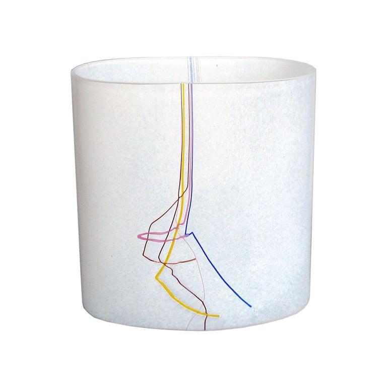 Bertil Vallien Kosta Boda Swedish Art Glass Vase Rainbow For Sale