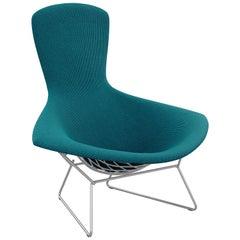 Bertoia Bird Chair in Cato/Blue Upholstery & Satin Chrome Frame