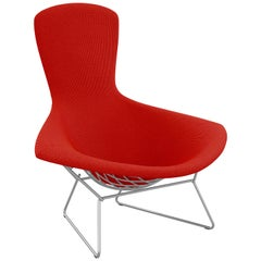 Bertoia Bird Chair in Cato/Fire Red Upholstery and Satin Chrome Frame