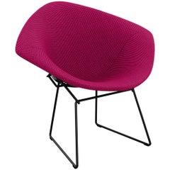 Bertoia Diamond Chair in Cato/Hot Pink Upholstery Full Cover & Black Frame
