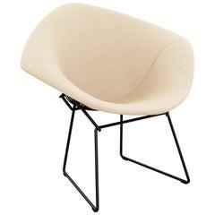 Bertoia Diamond Chair in Cato/Ivory Upholstery Full Cover & Black Frame
